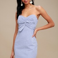 Newport Blue and White Striped Knotted Strapless Dress