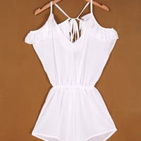 White Cutout Shoulder Waisted Romper
