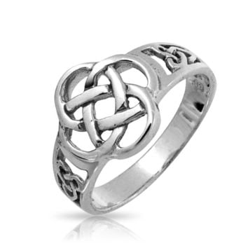 BFF Infinity Knot Irish Celtic Band Ring Oxidized 925 Sterling Silver