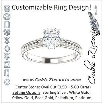 Cubic Zirconia Engagement Ring- The Dulcia (Customizable Oval Cut Solitaire with Wheat-inspired Band Filigree)