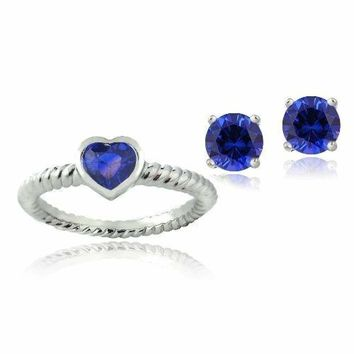 Silver Tone 1.75ct Created Blue Sapphire Heart Ring & Stud Earrings Set