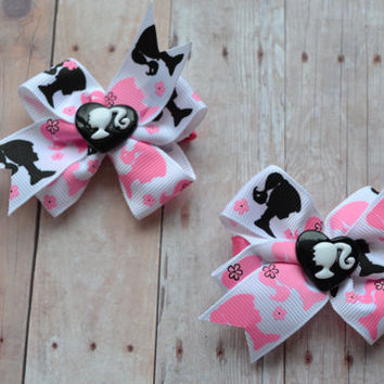 Pink and Black Barbie Inspired Hair Bows - Set of 2