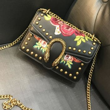 Gucci Stylish Rose Embroidery Rivet Metal Chain Lock Buckle Leather Inclined Shoulder Bag Satchel High Quality Black