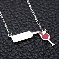 JDXN Stainless Steel Love Wine Gold Silver Enamel Heart Pendant Chain Necklace Jewelry Girl 'S Women'S