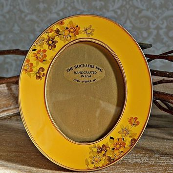 Vintage 1960's Handcrafted + Enamel Oval Photo Frame