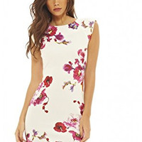 Cream Floral Print Capped Sleeve Scoop Back Mini Dress