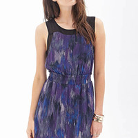 Purple Floral Printed Sleeveless Chiffon Dress