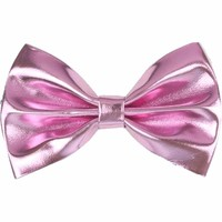 Metallic Faux Leather Hair Bow, Pink