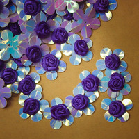 Ribbon and Plastic Flower Applique #100056