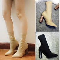 Fashion Ankle Elastic Sock Boots Chunky High Heels Stretch Women Spring Sexy Booties with pointed toe Kardashian Martin boots