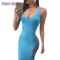 New Women Bandage Dress Scoop Neck Low Cut at Back Sexy Party Dresses Sleeveless Side Cutouts Clubwear Light Blue