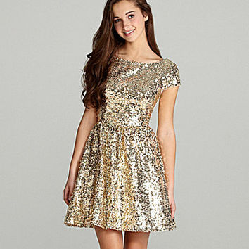 B. Darlin Cap-Sleeve Sequin Dress | Dillards.com