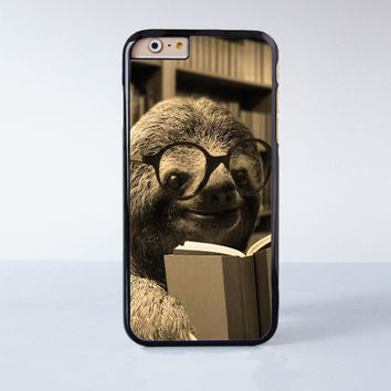Funny Baby Sloth Reading Book  Plastic Case Cover for Apple iPhone 4 4s 5 5s 5c 6 6s Plus