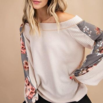Natural Thermal Off Shoulder Top with Floral Sleeves