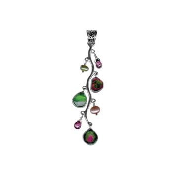 Watermelon Tourmaline Sterling Silver Branch Pendant
