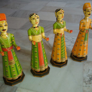 decorative Indian wooden folk art pieces gangour and isar (a pair of husband and wife) from rajasthan