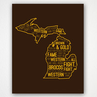 Typography Poster - Western Michigan University Inspired - WMU Fight Song - 8x10 Poster Print