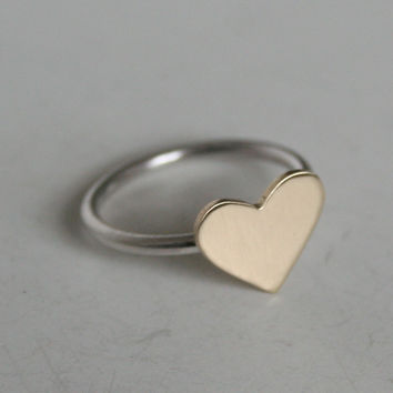 Simple brass heart ring