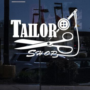 Window Vinyl Wall Decal Seamstress Tailor Shop Logo Threads Needle Scissors Stickers (2225igw)