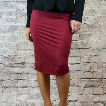 Amanda Faux Suede Pencil Skirt - Burgundy