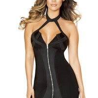 Zip-up Dress with Criss-Cross Two Tone Detail