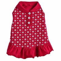 Bond & Co. Red with White Floral Dots Dog Polo Dress | Petco