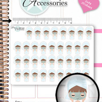 Face Mask Planner Stickers Girl Stickers Wellness Stickers Cute Stickers Decorative Stickers Functional Stickers Kawaii Stickers NR1342