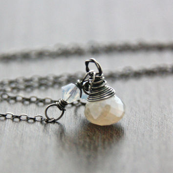 Single White Pearl Necklace Pendant Delicate Dainty Oxidized Sterling Silver Necklace Pearl Chalcedony White Opal Swarovski Crystal Jewelry