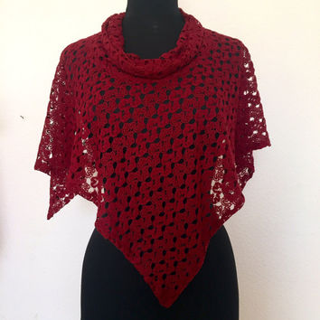 Bordo deep red wine red lace crochet shawl poncho women poncho accessories stylish