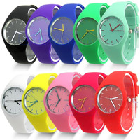 Free Shipping 2014 Fashion Super Soft Geneva Womens Jelly Silicone Sports Watch Students Watch  For Beauty Tool