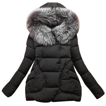 New Winter Women Jackets Cotton Full Sleeve Covered button with pocketswomen Hat with Feathers Ultra Light Down Jacket A023