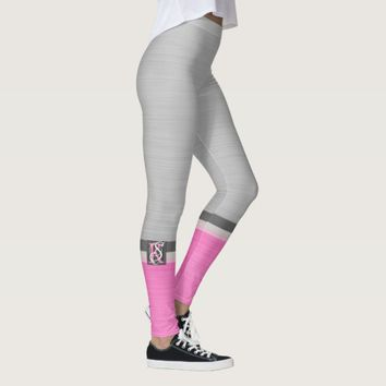 Simple Two Tone Pink and Grey Initials Monogram Leggings