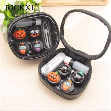 Cute Cartoon Contact Lens Case Box Travel Kit Eye Lenses Container With Mirror Contact Lens Box