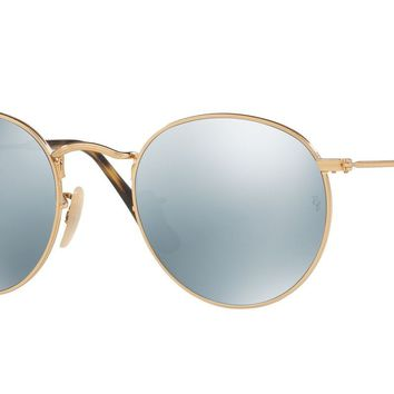 RAY BAN 0RB3447N Round Unisex Sunglasses Gold/Gray