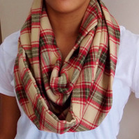 Flannel Infinity Scarf.  Plaid Flannel Scarf. Adult Size Infinity Scarf.