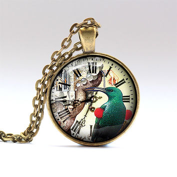 Bird pendant Watch chain Colorful necklace RO1707