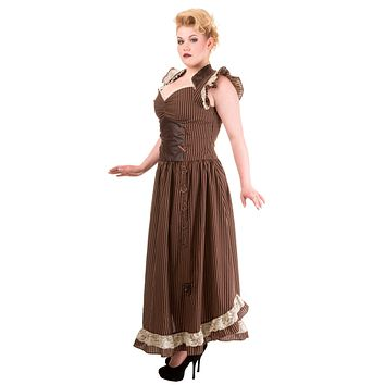 Long Maxi Brown Black Striped Steampunk Vintage Victorian Corset Dress