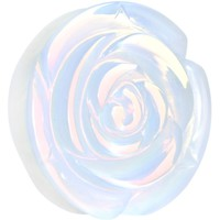 30mm Opalite Natural Stone Rose Double Flare Saddle Plug