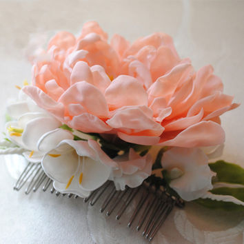 Coral Flower Hair Comb - Handmade With Love | Oriflowers