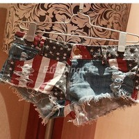 Hot Sexy Women American US Flag Mini Jeans Shorts Pants Trousers Denim Low Waist