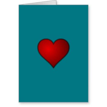 Simple Plain Red Heart Blank Inside Greeting Card