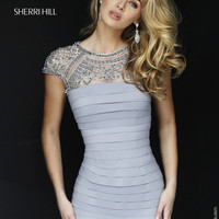 Sherri Hill 32282 Elegant Beaded Illusion Bandage Dress