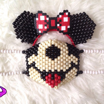 Minnie Mouse Mask and Ears Kandi Set, Mickey Mouse Kandi Mask, Disney Kandi Mask, Minnie Mouse Headband, Rave Gear, EDM Rave Wear, Cosplay