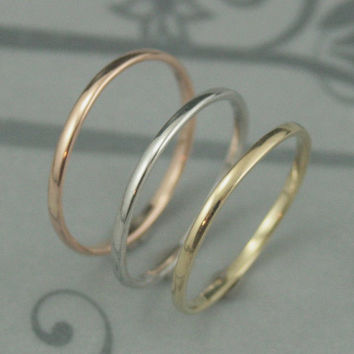 Thick Solid 14K Gold 1.5mm by 1mm Skinny Minnie Plain Jane Half Round Band-YOUR CHOICE of Yellow, White or Rose Gold-Solid Gold Wedding Ban