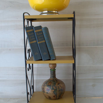 Mid Century Scrolled Metal Wrought Iron & Gold 3 Tier Shelf Rack