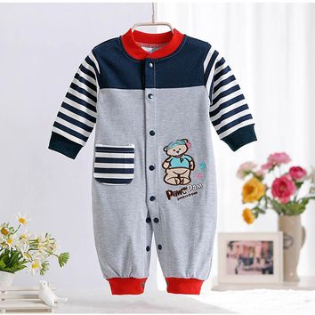 Spring Autumn New Cute Animal Pattern Baby Rompers Boys Girls Long Jumpsuit Comfortable Cotton Crawling Coverall Clothing CL0884