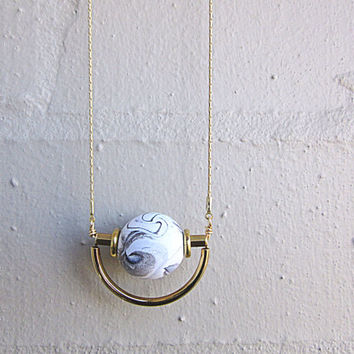 NL-208 White and Black Marble Vein Round Clay Bead with Brass Disc and Tube and Gold Curved Tube Pendant in 16K Gold Plated Brass Chain