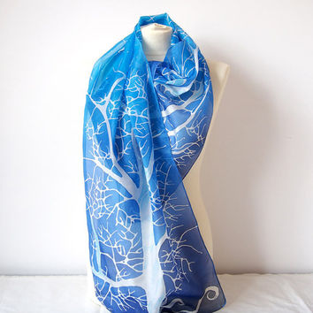 Silk scarf White Tree - ombre blue scarf - ombre scarf - white tree scarf - handpainted scarf - silk scarves - silk shawl - ready to go