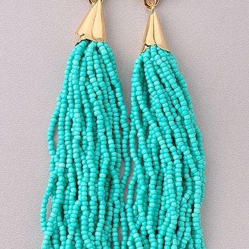 RIO BEADED TASSEL EARRINGS - TURQUOISE