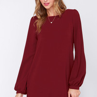 Perfect Situation Burgundy Long Sleeve Shift Dress